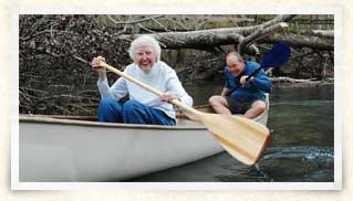 Photo of Marjorie Skiles and friend in canoe