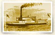 Illustration of paddlewheel boat on St. Johns River